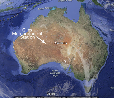 Giles Meteorology Station, Map