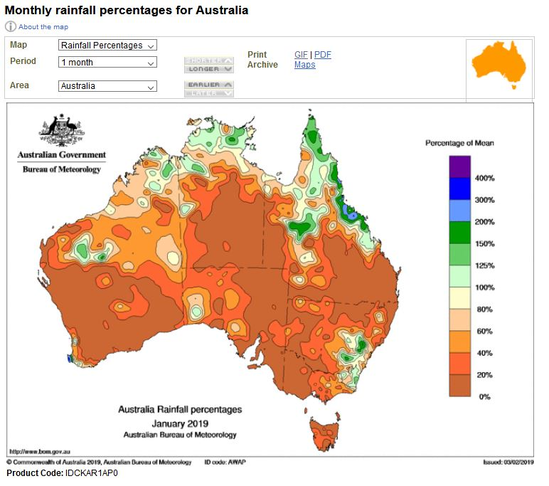 AUstralian Bureau of Meteorology, January rainfall, 2019. Map.