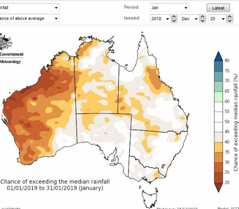 Australian Bureau of Meteorology, prediction, Jan 2019 rainfall.