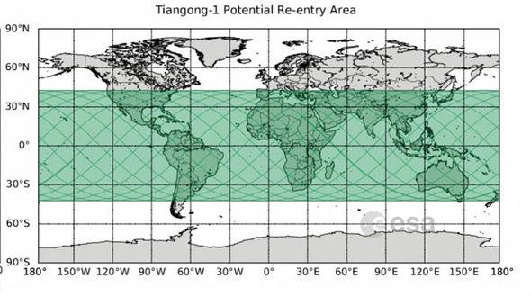 Map satellite impact zone