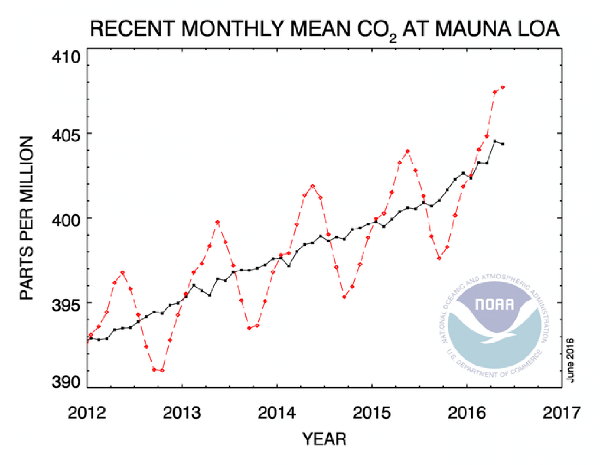 Mauna-loa, global CO2 levels, 2016, NOAA. Graph.