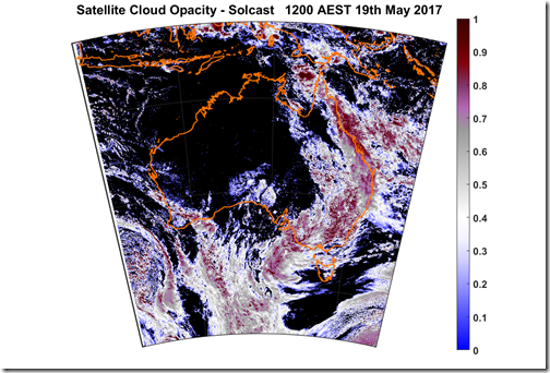 Cloud cover blocks 1000MW of solar power across Australia. Satellite image.