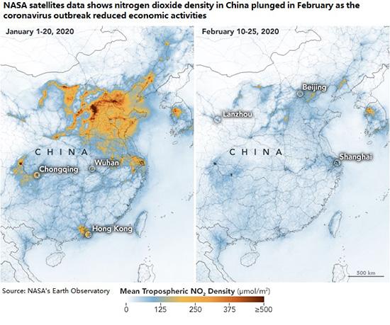 Chinese pollution February 2020, Coronavirus. Economic Activity.