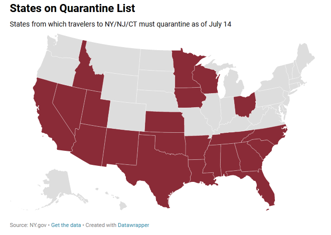NY Border closure,map, Coronavirus, 22 US States.
