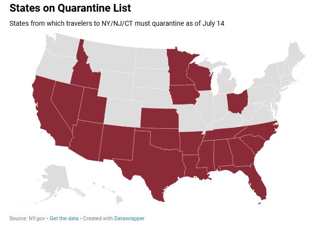 NY Border closure,map, Coronavirus, 22 US States.