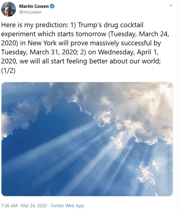 Trump prediction, Coronavirus.