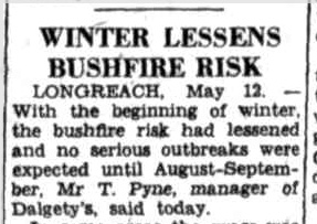 Bushfire, Queensland, 1951, News