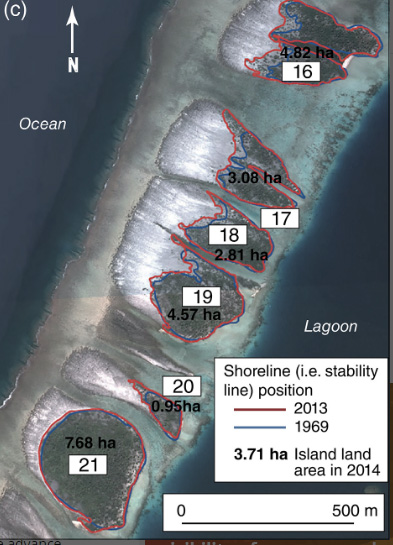 Atolls, Pacific, Sea level Rise, measured by satellites. Photo.
