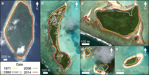 Tuvalu, pacific Islands, mapped, satellite image, climate change.
