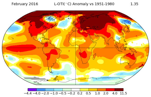 Global Record Temperatures, Map.