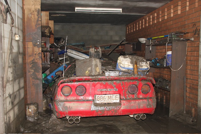 Photo: Corvette washed out in Brisbane Flood