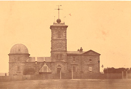 Sydney Observatory 1864, the louvered thermometer house is out the front.