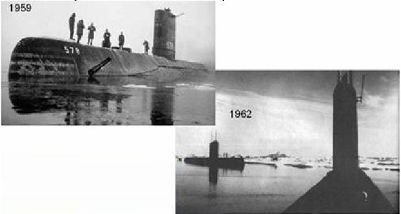Submarines surfacing at the north pole