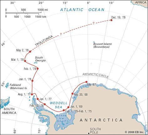 Path, Antarctic Iceberg, massive Trolltunga, 1967-1978.