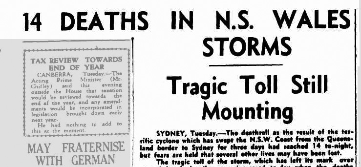 Collaroy, NSW, Storm erosion. 1945