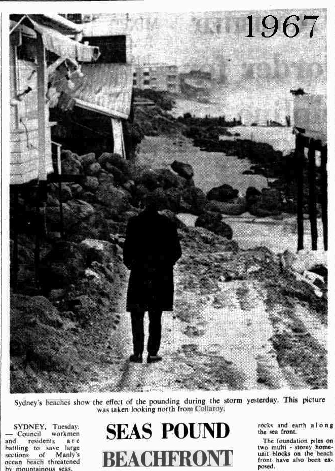 Collaroy Beach, 1967, erosion. Storm damage.