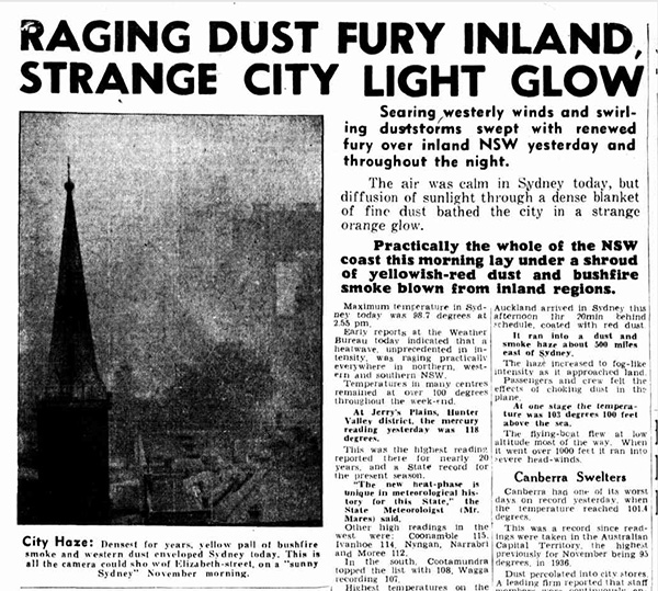 Dust Storm, Sydney, Smoke, Fishfires, News, November 1944