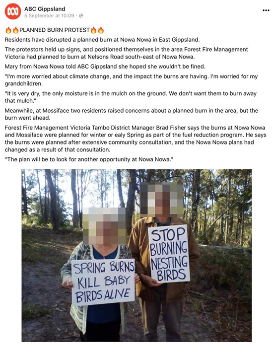 Facebook, Nowa Nowa, prescribed burns protest, deleted story.