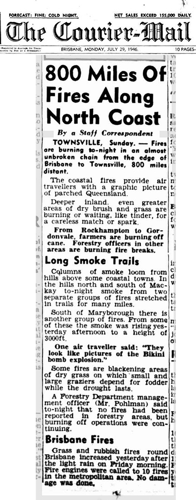 800 miles of fires stretch across QLD in 1946