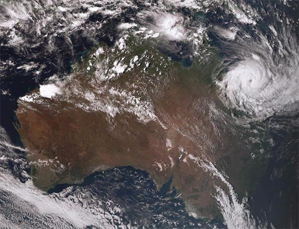 Cyclone Debbie, satellite image