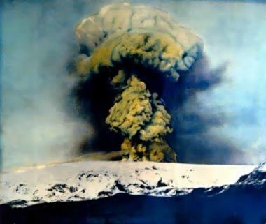 Katla Volcano, Iceland, 1918, photo.