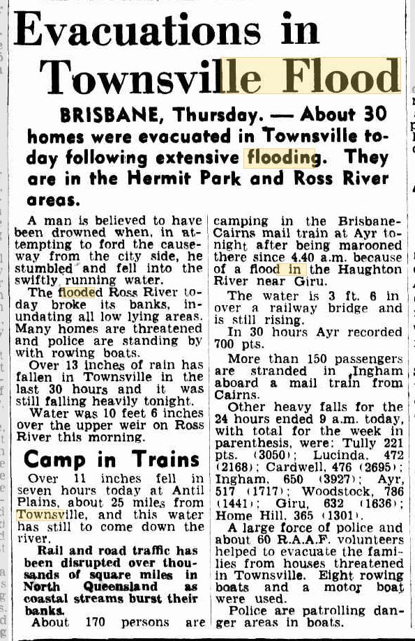 Townsville flood historic story, 1953