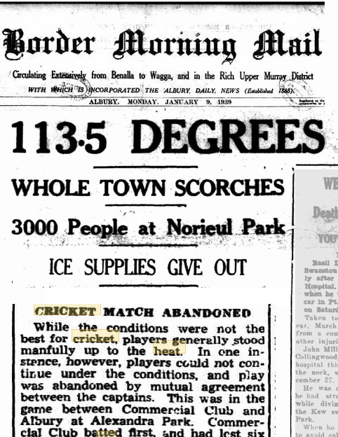 Heat, Cricket match abandoned due to heat, 1939