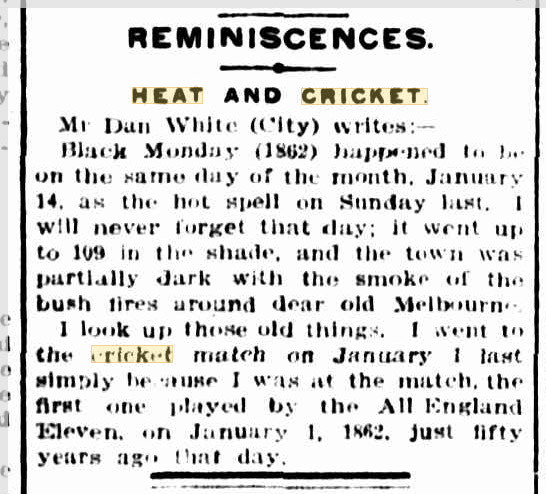 Heatwaves, Cricket, 1862, Australia.