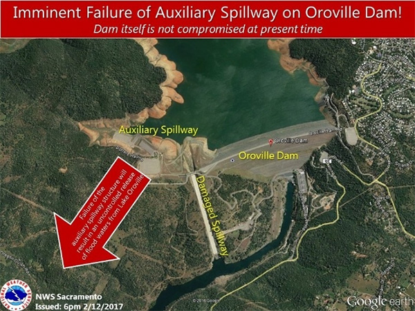 California: Oroville Dam emergency, evacuations underway « JoNova