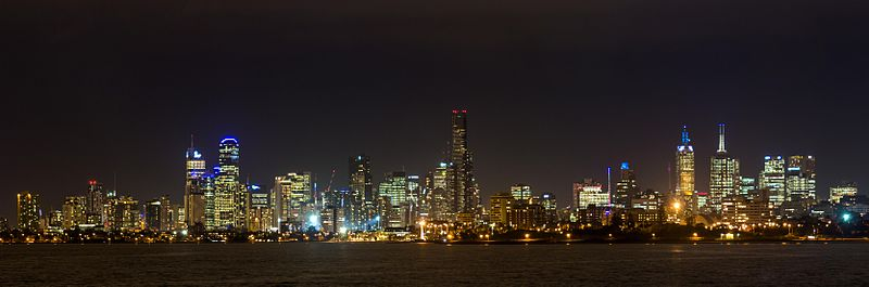 Melbourne skyline, at night.