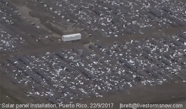 Solar Panels, damaged, Puerto Rico, Hurricane Maria.
