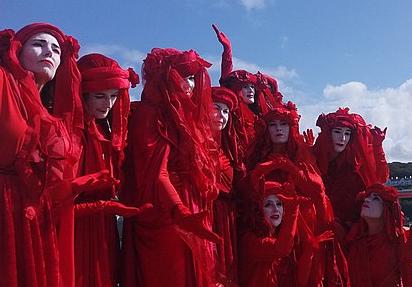 Extinction Rebellion, Red Brigade, Image by Gazamp