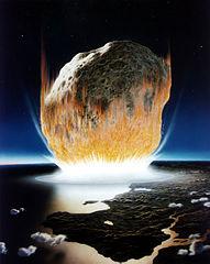 Asteroid Impact, Image Wikimedia, Don David, NASA. KT Extinction.