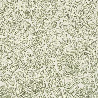 Jasper Performance Fabric Woodblock Flower in Green