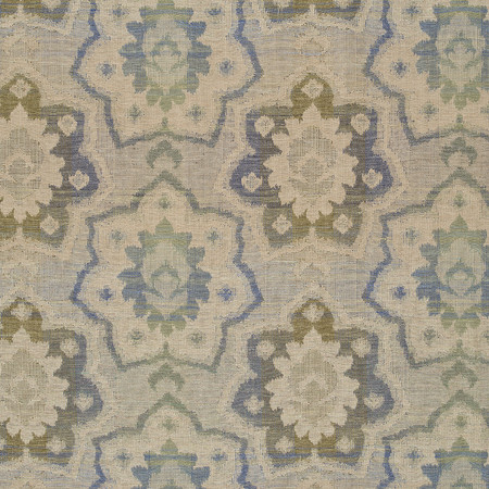 Templeton Fabric inZinnia - Green/Blue