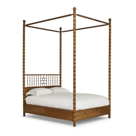 600 3b faux bamboo bed   queen 4 post and canopy