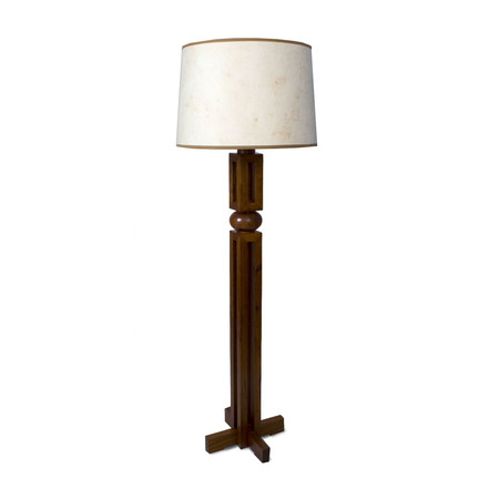 Christopher standing lamp in walnut with shade