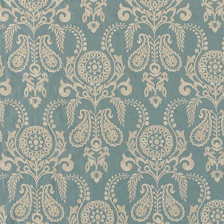 Jasper Fabrics in Zamora - Cream on Teal
