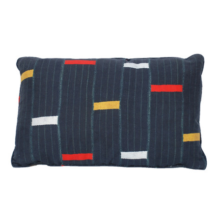 Jasper Pillow Blue Fabric with Yellow and Red Detail