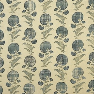 Indian Flower - Blue Jasper Fabric