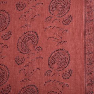 Indian Flower - Indigo on Red Jasper Fabric