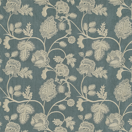 Chennai Cream on Blue Jasper Fabric