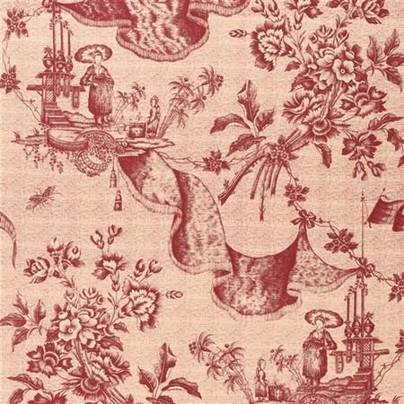 Chinese Toile  Red Tea Jasper Fabric