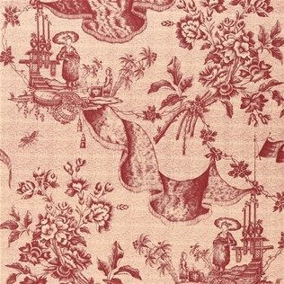Chinese Toile  Red Tea Jasper Fabric