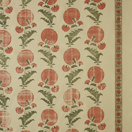 Indian Flower - Orange Jasper Fabric