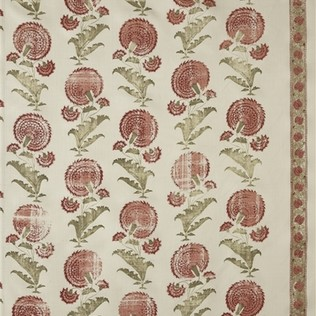 Indian Flower - Pink/Green Jasper Fabric