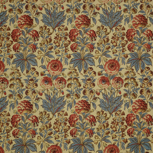 Isle Flower Blue Coral Jasper Fabric