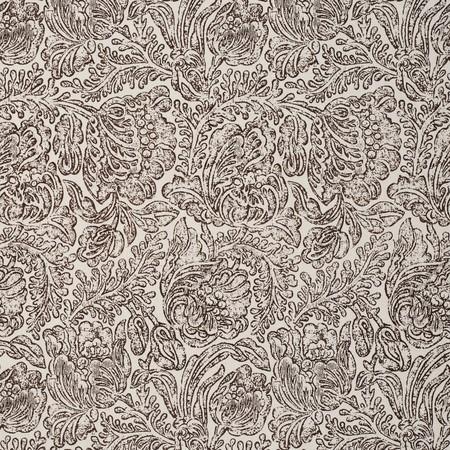Woodblock Flower Brown Jasper Fabric
