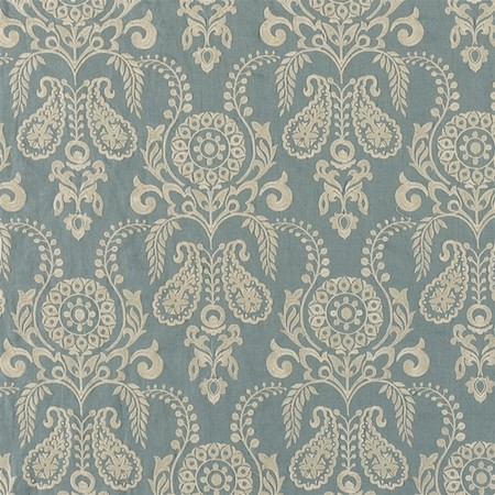 Jasper Fabrics Zamora - Cream on Teal