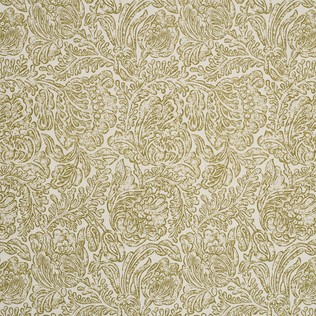 Woodblock Flower Olive Jasper Fabric